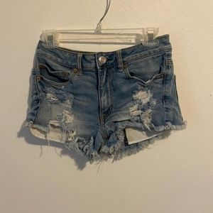 American Eagle distressed festival jean shorts